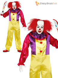 Killer Clown Costume Mens Killer Clown Costume Halloween Horror Circus Fancy