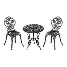 Outdoor Garden Chairs Uk Outsunny 3 Pc Bistro Set Cast Aluminum Steel Bronze Aosom Co Uk