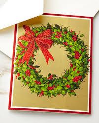 caspari wreath on gold printed cards set of 16