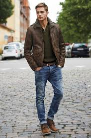 nice look for men cuffed jeans olive shirt and leather jacket