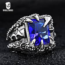 blue rock rings images Woolegogo cool dragon claw stone ring men vintage stainless steel jpg
