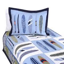 blue ocean surfing bedding full queen quilt set surf boards