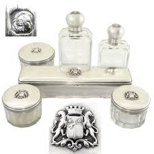 silver vanity table set 6pc antique french sterling silver u0026 cut glass armorial coat of