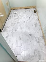 powder room makeover faux marble tile floor bless u0027er house