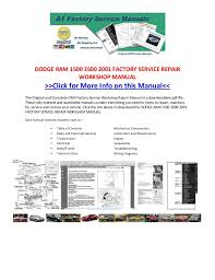 1999 dodge ram service manual dodge ram 1500 3500 2001 factory service repair workshop manual