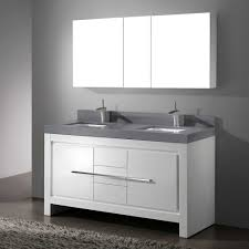 double sink vanity 60 inch white varnished wooden frame glass door