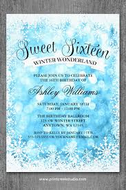 sweet 16 winter wonderland blue glitter lights invitations sweet
