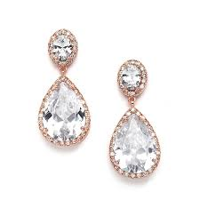 wedding earrings drop mariell gold cz bridal earrings with oval cut