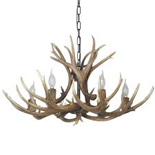 Antler Chandelier Canada Sdlighting Deer Horn E14 Bulb 6 Light Iron Resin Industrial Retro