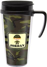 Travel Mug Green Camo Travel Mug With Handle Personalized Potty Training