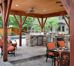 pool and outdoor kitchen patio traditional with wood beam