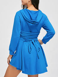 high low back lace up hooded dress in windsor blue l sammydress com