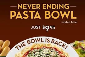 Olive Garden Never Ending Pasta Bowl Is Back - olive garden s never ending pasta bowl with soup salad and