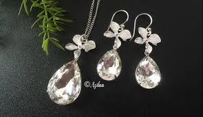 silver pendant necklace set images Orchid flower designer crystal pendant necklace set at 2950 azilaa jpeg
