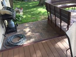Composite Patio Pavers by Fort Wayne Trex Composite Deck And Paver Patio Combo Archadeck