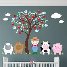 farm animal nursery wall art stickers farm animal wall stickers blue