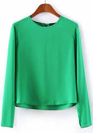 green chiffon blouse green plain neck sleeve chiffon blouse blouses tops