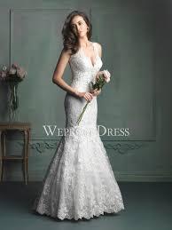 v neck mermaid lace cut out wedding dress