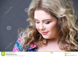 young beautiful happy blonde plus size model in dres xxl woman