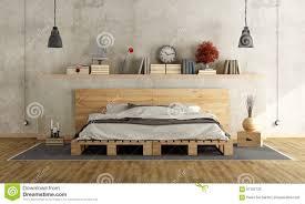 lit avec des palettes chambre à coucher avec le double lit de palette illustration stock