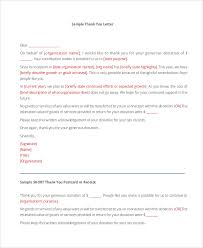 sample thank you letter for donation 8 examples in word pdf
