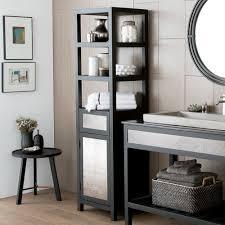 Linen Tower Cabinets Bathroom - oak finish linen tower glass door bathroom storage cabinet w