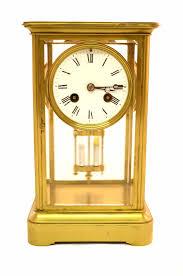 Mantel Clocks Antique Antique French Brass 4 Glass Mantel Clock C 1880