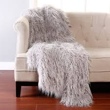 Fake Fur Throws The Mine Collection Wild Mannered Mongolian Lamb Faux Fur Throw