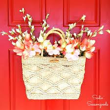 vintage umbrella repurposed as unique spring flower wreath decor