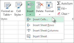insert or delete cells rows and columns excel