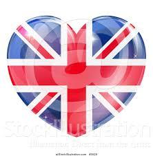 vector illustration of a 3d reflective union jack british flag