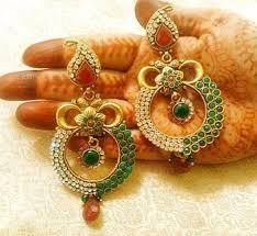 danglers earings buy royal designer maroon green copper zircon danglers earrings