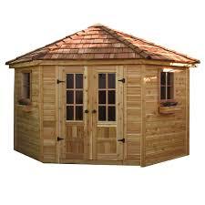 outdoor living today 9 ft x 9 ft penthouse cedar garden shed