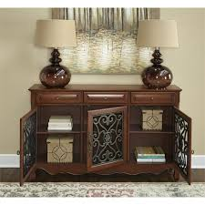 powell scroll console table powell furniture 3 door scroll console in walnut 246 335 powell