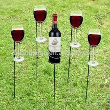 pack of 4 metal wine glass holder sticks outdoor camping garden