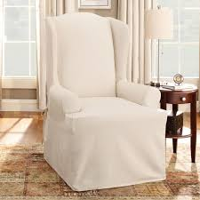 wingback chair slipcovers sure fit home products cotton duck wing chair slipcover the mine