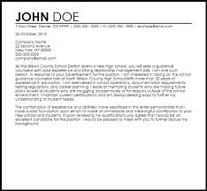 sample counselor cover letter sample counselor cover