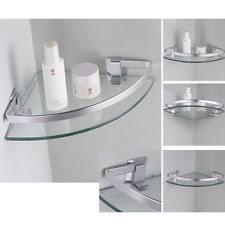 Corner Bathroom Shelving Aluminum Glass Wall Mounted Corner Shelves Triangle Single