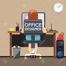 Office Designer by Office Designer Working At Desktop Computer Woman Designer