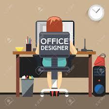 office designer working at desktop computer woman designer