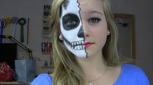 Half Skull Halloween Makeup by Half Glamour Half Skull Halloween Tutorial Youtube