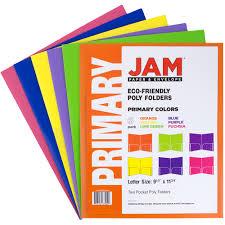 jam paper eco plastic presentation folders assorted colors 6pk
