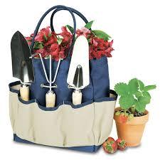 amazon com picnic time u0027garden tote u0027 with tools navy cream