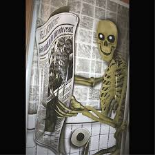 horror home decor funny pooping skeleton toilet bathroom door cover poster halloween