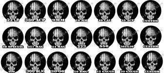 American Flag Skull Set Of 3 American Flag Skull Caliber Ammo Can Decal Sticker