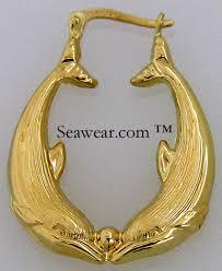 14kt gold earrings dolphin earrings 14k gold 14kt puffed dolphins