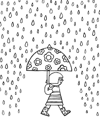 Happy Rainy Day Free Printable Coloring Page Yinfan Huang 黄吟帆 Rainy Day Coloring Pages