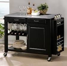 kitchen simple black kitchen island on wheels and racks for wine