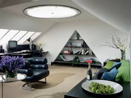 interior design small modern attic home office with slooping