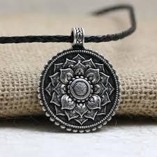 antique necklace pendants images Antique silver om lotus mandala pendant necklace project yourself jpg